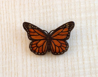 Marquetry Monarch Butterfly Pin and Brooch made from Aspen and Wenge Wood