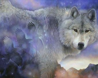 Wolf raven totem spirit animal shaman southwestern wall art print by Leslie Macon