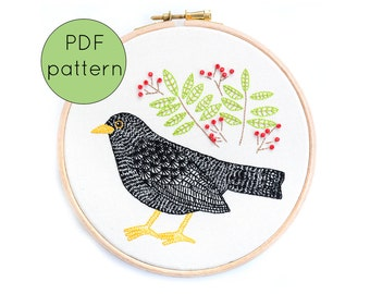 Embroidery Pattern Download, Bird Hand Embroidery Pattern, PDF Pattern, Blackbird