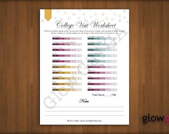 College Visit Worksheet - High School, College, Planner Pages - Letter, Instant Download