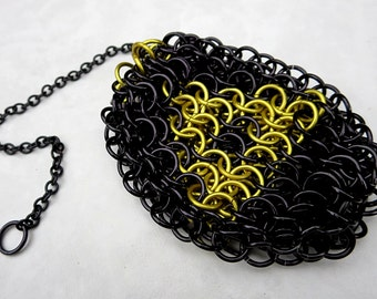 Legend of Zelda Bag - Chainmaille Dice Bag Coin Purse - Drawstring Pouch - Chainmaille Bag - Black & Yellow - Zelda Cosplay Zelda Bag