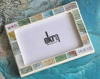 Gift for Him Map Photo Picture Frame Personalized by You Custom Made 4x6 Frame