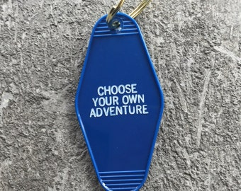 SALE Adventure Hotel Key Fob in Navy Blue Key Tag