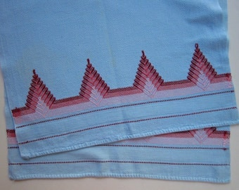 Pair Light Blue Vintage Huck Towels with Swedish Weaving Embroidery