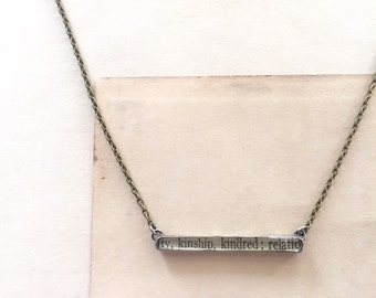 bar necklace, kindred, dictionary and sterling silver by foundling