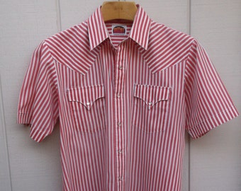 Vintage 70s to 80s Red & White Stripe  MILLER Western Pearl Snap Shirt / 1970s cowboy style short sleeve shirt / sz Lge - XL
