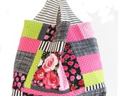 Pink and Black Patchwork Tote Bag | Reusable Reversible Market Shopping Tote to Use for Grocery Bag Knit Crochet Project Tote Bag