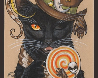 Black Cat Art Print Halloween Autumn Fall Gothic Animal Illustration Home Decor Wall Decor Candy Drawing Steampunk