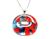 Fused stained glass pendant (1458)