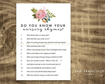 Nursery Rhyme Baby Shower Game - Floral - INSTANT DOWNLOAD PDF file - Emma Collection