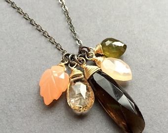 In the Garden, Peach Moonstone, Rutilated Quartz, Smoky Quartz, Vesuvianite, 14k Gold Fill, Sterling Silver Necklace, erinelizabeth