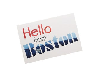 Boston Postcard, Hello from Boston, Watercolor Boston Postcard, U.S. Travel Postcard, Illustrated Postcard, Boston Souvenir