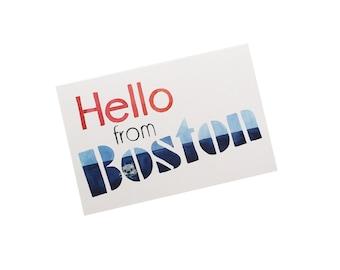 Boston Postcard, Hello from Boston, Watercolor Boston Postcard, U.S. Travel Postcard, Illustrated Postcard, Boston Souvenir