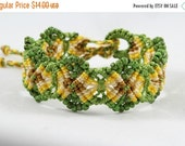 FLASH SALE FRIDAY Micro-Macrame Beaded Cuff Bracelet - Green, Gold, Tan, Brown