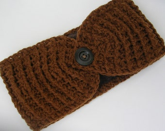 Ear Warmer Crocheted with Fleece Lining// Oak Street In Light Brown//Headband Handmade//READY to SHIP// Fall and Winter Accessories