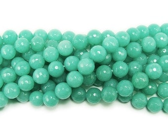 Green Amazonite Jade Faceted Gemstone Beads