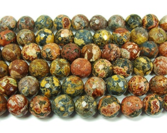 Red Leopard Skin Jasper Faceted Gemstone Beads