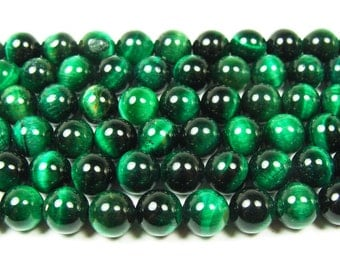 Green Tiger Eye Round Gemstone Beads