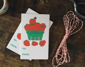 Cheerful Strawberry Basket Gift Tags - Birthday, Thank You Gift Tags - Pack of 10 with Twine