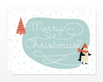 Cute Penguin Ice Skating Christmas Card, Funny Holiday Card, Xmas Card for Friend, Card for Coworker, Card for Family, Cute Christmas