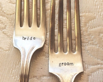 Custom Stamped Bride and Groom Vintage Forks