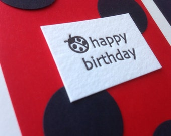 Letterpress ladybug birthday card- vellum