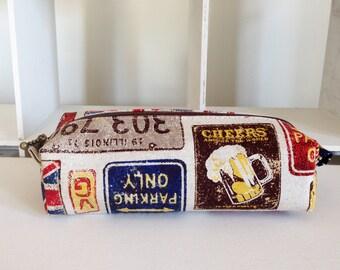 Long box pouch - British vintage plates