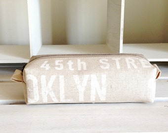 Long box pouch - US city letter and linen
