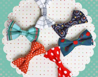Vintage Fabric Hair Bow Barrettes for Blythe or Similar Doll