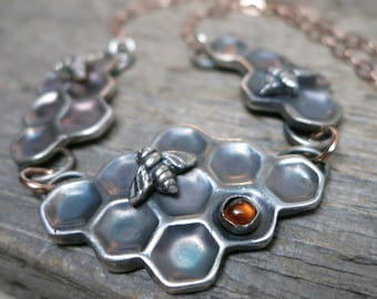 Beekeeper II necklace ... fine silver / sterling sliver / 14K rose gold fill / baltic amber bezel / honeycomb / bee