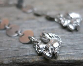 Harvest Squirrels earrings ... matte silver cascades / squirrels / acorns