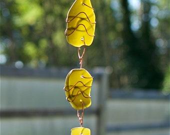 Sun Catcher Sea Glass Copper Wire Wrapped Suncatcher