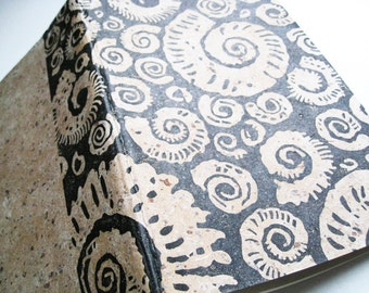 LINED MOLESKINE NOTEBOOK - Ammonites Design - Block Printed Japanese Paper Cover - 5x8 Notebook - Nautical Journal