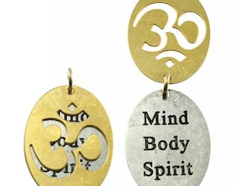 Combination Pendant, Etched Pendant, Combo Pendant, Ohm Pendant, Inspiration Charm, Quotation Jewelry, Inspiration Jewelry, 2-Piece Pendant