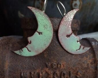 """Sleepy Moon Earrings - Copper + Enamel - """"Moon Glow/Absinth"""""""
