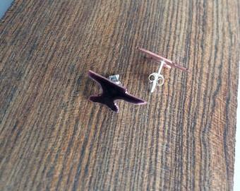 """Anvil Studs - Copper + Enamel """"Black"""""""
