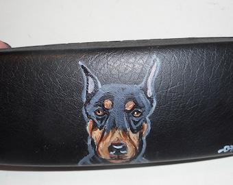 Doberman Pinscher dog Hand Painted Eyeglass Case Vegan