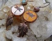 Damselflies || Dragonflies | Nature Lover | Stones and Leaves | Pumpkin Orange | Earthy | Organic | Woodland Wedding | Earrings Under 20