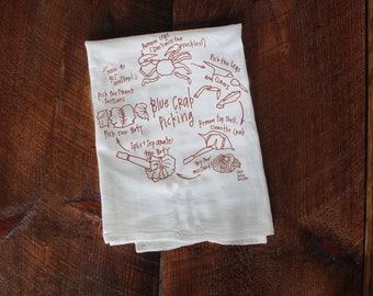 How to Eat Crab towel Kitchen Towel, crab towel, Apartment dish Towel, White Cotton Towel, Housewarming Gift crabs beach gift