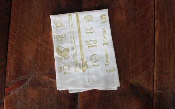 pasta kitchen towel, pasta towel, types of pasta, dish towel, housewarming gift, hostess gift, foodie gift, pasta diagram, gluten