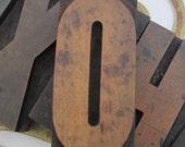Antique Letterpress Wood Type Printers Block Letter O or Numeral 0 Zero