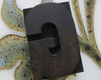 Letter G Antique Letterpress Wood Type Printers Block