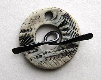 Reserved for M. Handmade Stoneware Blue and Black Ceramic Toggle Clasp with Sea Creatures Texture by Mary Harding