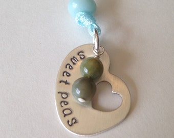 Sweet Peas Hand Stamped Peapod Necklace TWO Children