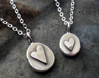 Valentines Gift, Silver Heart Necklace, small heart charm necklace,  sterling silver by Kathryn Riechert