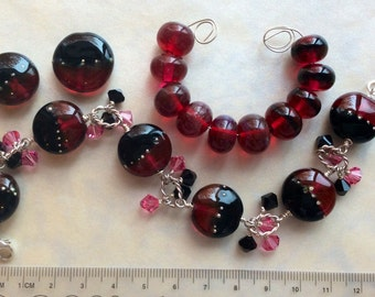 Artisan Made Lampwork Glass and Sterling Bracelet Plus Extras