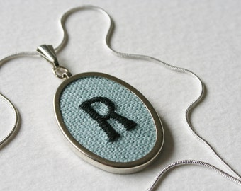 Letter R Personalised Hand Embroidered Monogrammed Necklace