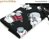 SALE 25% OFF Large Knitting Needle Case - Black Sheep - black pockets for circular, straight, dpn