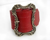 Red Leather Cuff with Victorian Buckle - Handmade Martine Glam Rocker Bracelet