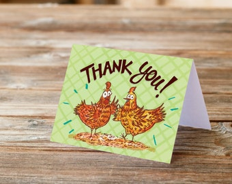 Thank you chicken and hen card set of 8
